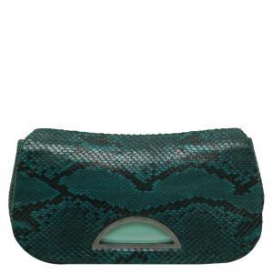 Dior Green Python Evening Clutch