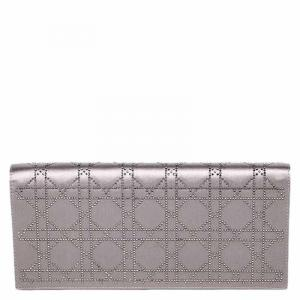 Dior Metallic Satin Crystal Embellished Evening Clutch Bag