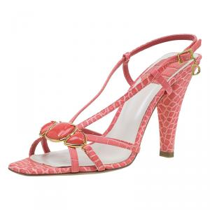 Dior Pink Croc Embossed Jeweled Sandals Size 37