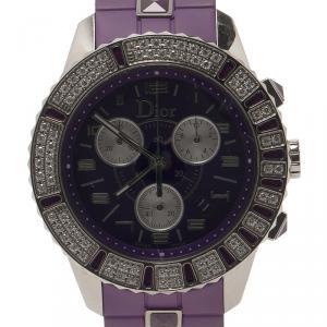 Dior Purple Stainless Steel Christal Women's Wristwatch 38MM