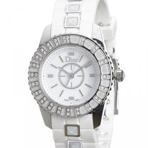 Dior White Stainless Steel Christal Collection Women's Wristwatch 28 MM