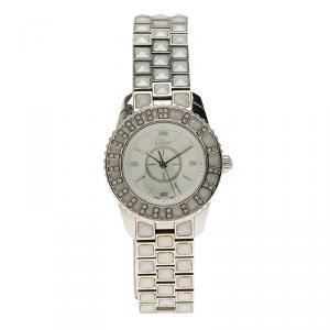 Dior White Stainless Steel Diamond Christal Women's Wristwatch 28MM