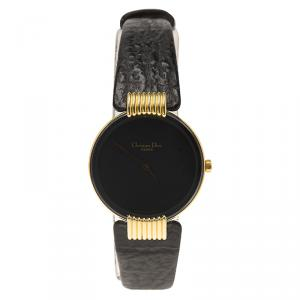 Dior Black Moon de Christian Dior Gold-Plated Stainless Steel Leather Women's Wristwatch 25MM