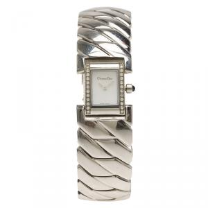 Christain Dior Mother of Pearl Diamond Stainless Steel D72-1011 Art Deco Women's Wristwatch 14MM