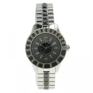 Christian Dior Black Stainless Steel and Diamond Christal CD113115 Women's Wristwatch 33MM