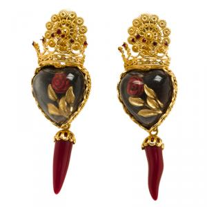 Dolce and Gabbana Sacred Heart Crown & Red Rose Gold Tone Clip-on Long Earrings