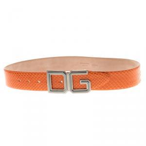 Dolce and Gabbana Orange Python DG Buckle Belt 85 CM