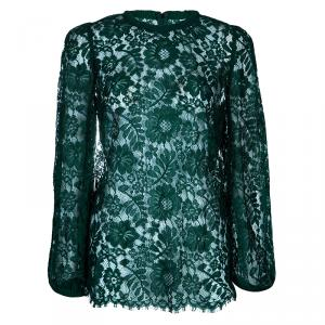 Dolce and Gabbana Green Lace Full Sleeve Top M