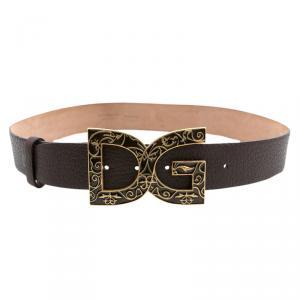 Dolce and Gabbana Brown Leather DG Logo Buckle Belt 85CM