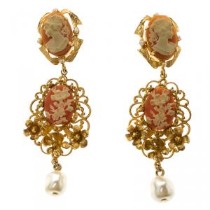 Dolce & Gabbana Cameo Gold Tone Faux Pearl Long Clip-on Earrings