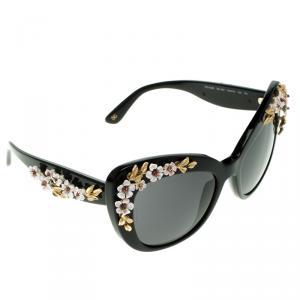 D&G Black DG4230 Flower Embellished Cat Eye Sunglasses