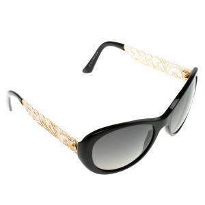 D&G Black 4213 Gold Tone Filigree Round Polarised Sunglasses