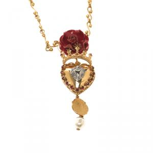 Dolce and Gabbana Rose Sacred Heart Gold Tone Pendant Chain Necklace