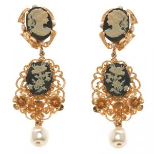 Dolce and Gabbana Cameo Faux Pearl Gold Tone Long Clip-on Earrings