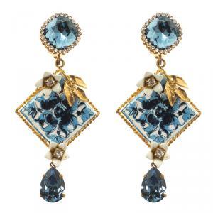 Dolce and Gabbana Blue Resin Tile Flower Gold Tone Clip-on Long Earrings