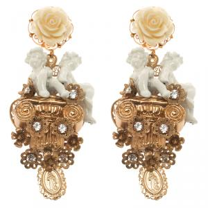 Dolce and Gabbana Cherub Gold Tone Clip-on Long Earrings