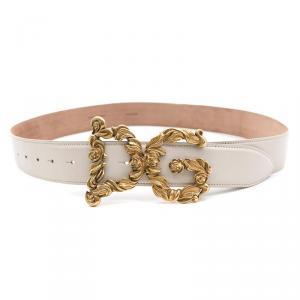 Dolce and Gabbana Cream Leather Baroque Logo Buckle Belt 95CM