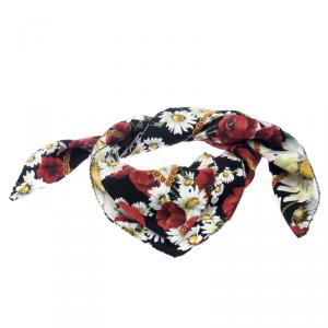 Dolce and Gabbana Multicolor Daisy and Poppy Print Silk Square Scarf