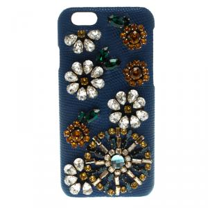 Dolce and Gabbana Blue Leather Jewel Embellished iPhone 6S Case