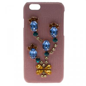 Dolce and Gabbana Pink Leather Jewel Embellished iPhone 6S Case