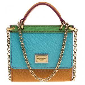 Dolce and Gabbana Multicolor Leather Micro Sicily Bag Accessories