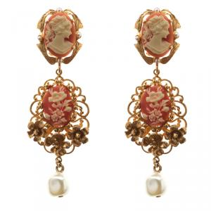 Dolce and Gabbana Cameo Faux Pearl Floral Gold Tone Long Earrings