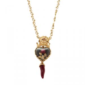 Dolce and Gabbana Black Sacred Heart and Resin Rose Gold Tone Necklace