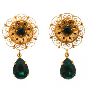 Dolce and Gabbana Green Crystal Filigree Floral Gold Tone Drop Earrings