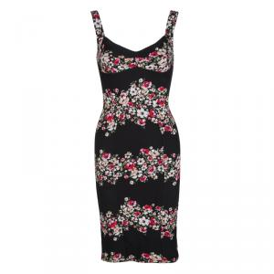 Dolce and Gabbana Black Floral Print Sleeveless Bodycon Dress XS