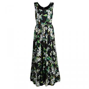 Dolce and Gabbana Black Floral Printed Cotton Poplin Sleeveless Maxi Dress M