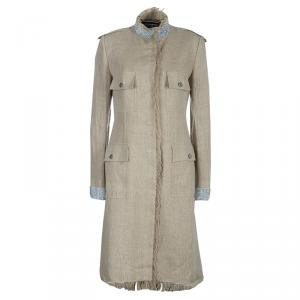 Dolce and Gabbana Beige Linen Embellished Coat M
