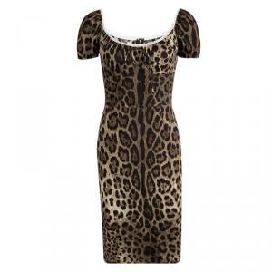 Dolce and Gabbana Leopard Printed Lace Trim Detail Dress S