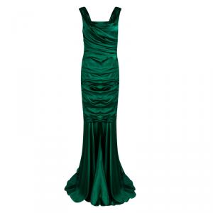 Dolce and Gabbana Green Silk Ruched Sleeveless Gown L