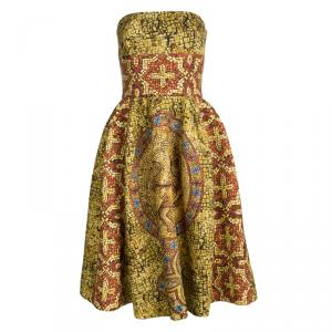 Dolce and Gabbana Multicolor Mosaic Printed Wool Strapless Dress M