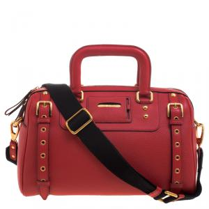 Dolce and Gabbana Red Leather Miss Easy Way Boston Bag