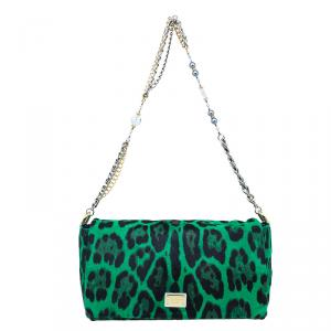 Dolce and Gabbana Green Leopard Print Pony Hair Charles Shoulder Bag