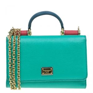 Dolce and Gabbana Green Tri Color Leather Dauphine Phone Bag