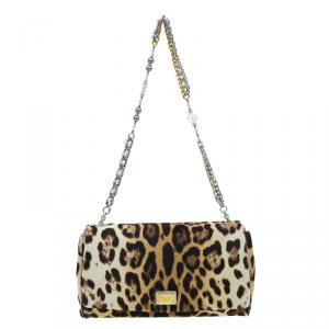Dolce and Gabbana Brown Leopard Print Pony Hair Charles Shoulder Bag