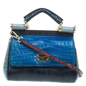 Dolce and Gabbana Multicolor Crocodile and Leather Small Miss Sicily Tote