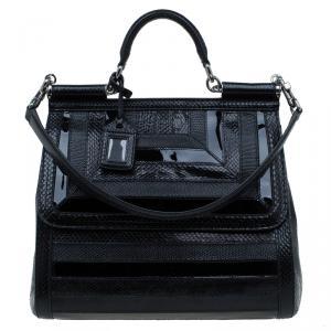 Dolce and Gabbana Black Python/Iguana Embossed Leather Large Miss Sicily Top Handle Bag