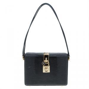 Dolce and Gabbana Black Lizard Embossed Calf Leather Box Bag