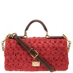 Dolce & Gabbana Red Crochet Raffia Miss Sicily Shoulder Bag