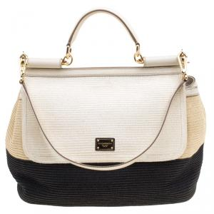 Dolce and Gabbana Tricolor Woven Miss Sicily Soft Top Handle Bag