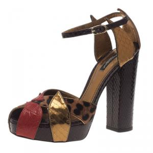 Dolce and Gabbana Leopard Print and Red Leather Sandals Size 39