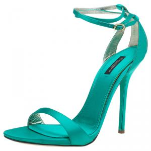 Dolce and Gabbana Green Satin Ankle Strap Sandals Size 41
