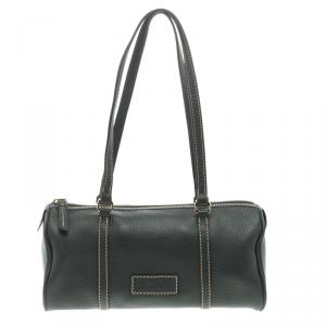 Dooney & Bourke Dark Grey Leather Barrel Shoulder Bag