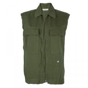 Dries Van Noten Olive Green Patch Pocket Detail Zip Front Vest M
