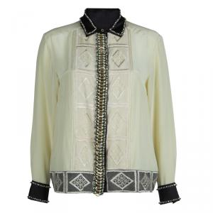 Dries Van Noten Cream Silk Embroidered Embellished Long Sleeve Shirt M