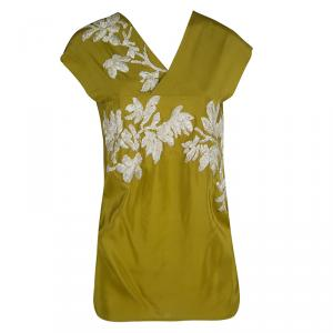 Dries Van Noten Olive Green Silk Embroidered Backless Sleeveless Top M