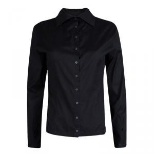 قميص درايز فان نوتن أزرار أمامية أكمام طويلة قطن أسود M